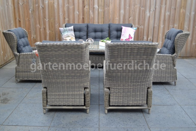valencia verstellbares dining lounge set 3er mit esstisch und 2 extra sessel sandgrau meliert. Black Bedroom Furniture Sets. Home Design Ideas
