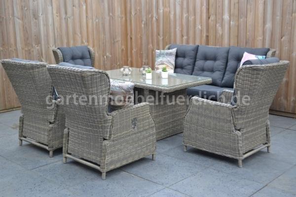 valencia verstellbares dining lounge set 3er mit esstisch und 2 extra sessel hellgrau meliert. Black Bedroom Furniture Sets. Home Design Ideas