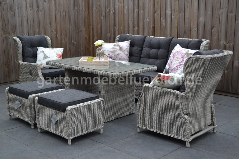 valencia verstellbares dining lounge set 3er mit esstisch und 2 hocker hell ebay. Black Bedroom Furniture Sets. Home Design Ideas