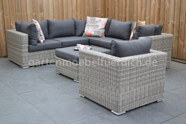 Alabama Loungeset Natural Grey inkl. Stuhl