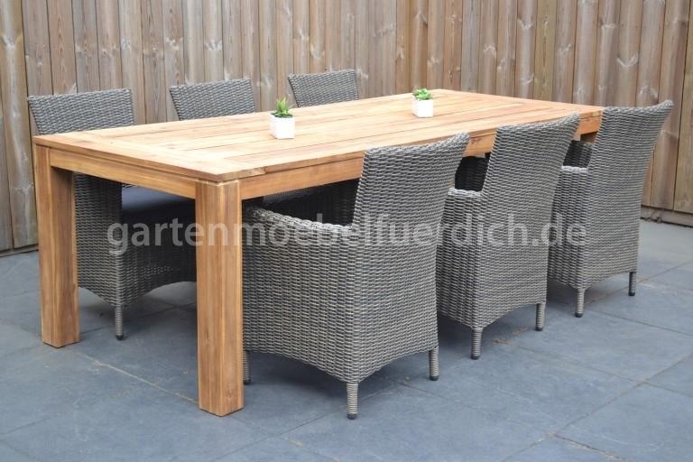merida akazien gartenholztisch 240 mit 6 sato dining st hlen sand dunkelgrau meliert. Black Bedroom Furniture Sets. Home Design Ideas