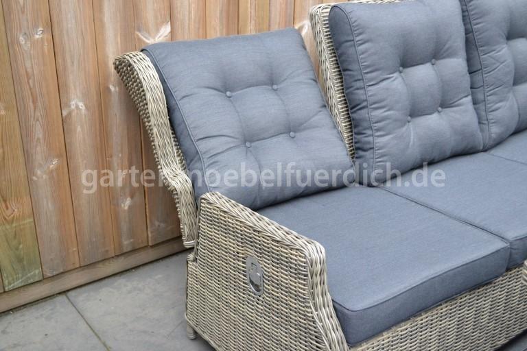 valencia verstellbares dining lounge set 3er mit esstisch und 2 hocker sandgrau meliert. Black Bedroom Furniture Sets. Home Design Ideas