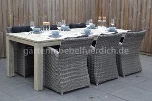 Bari Tisch Antique grey mit 6 Parma Dining Stühlen 4