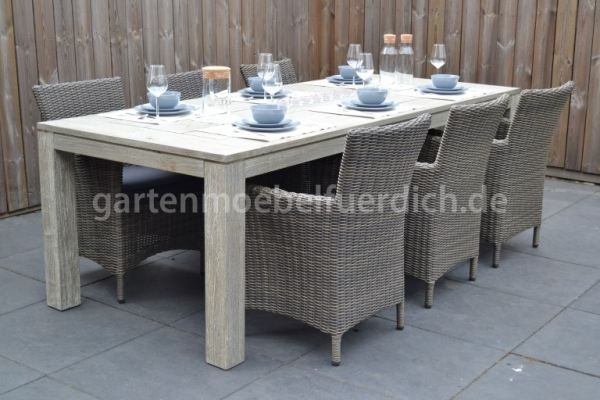 Merida Tisch Vintage Antique Grey mit 6 Sato Dining Stühlen Mixed Kobo