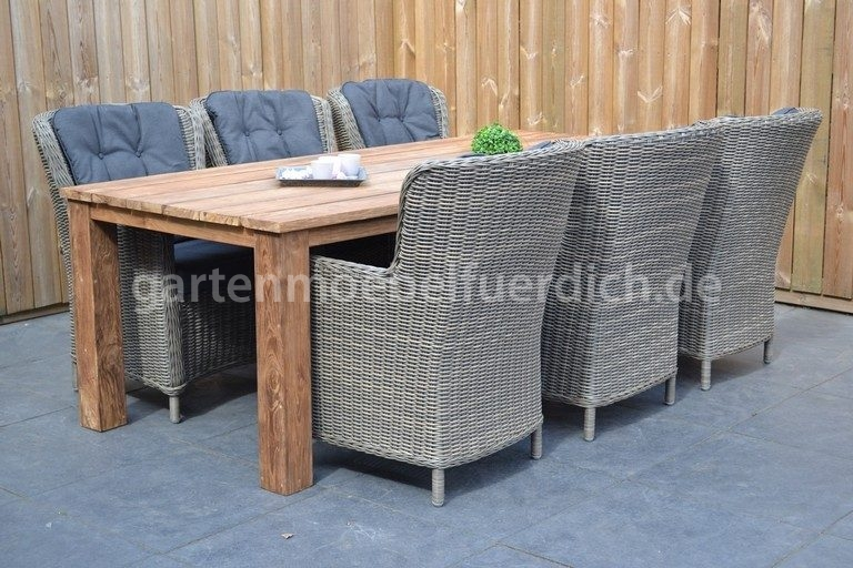 bali teak gartenholztisch 240 mit 6 rimini dining sessel sandgrau meliert ebay. Black Bedroom Furniture Sets. Home Design Ideas