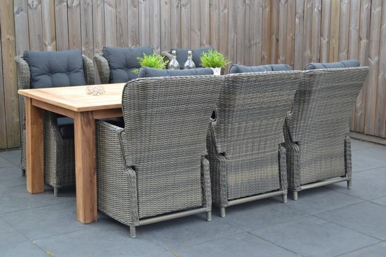 Delhi Teakholz Tisch Mit 6 Valencia Verstellbare Stühle Kobo Grey 19