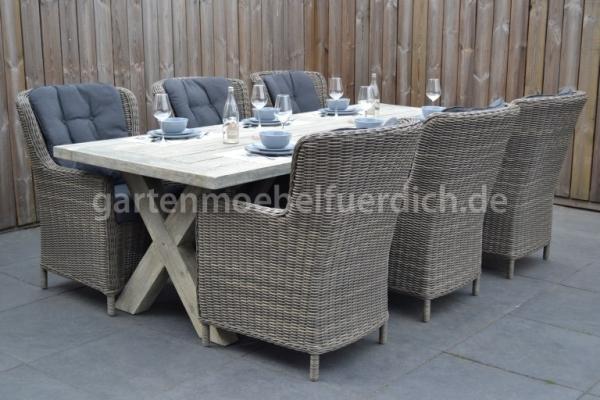 Wales Tisch 250 mit 6 Rimini Dining Stühlen Kobo Grey