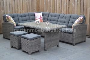 Frontera Loungeset Dark Grey mit hohem Tisch und Hockern