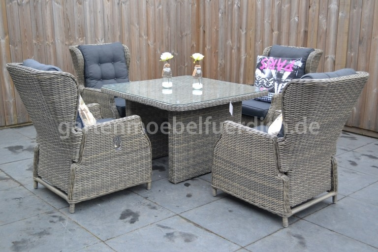 valencia verstellbares dining lounge set 4 sessel mit esstisch sandgrau mel ebay. Black Bedroom Furniture Sets. Home Design Ideas