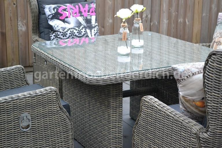 valencia verstellbares dining lounge set 4 sessel mit esstisch sandgrau meliert garten m bel. Black Bedroom Furniture Sets. Home Design Ideas
