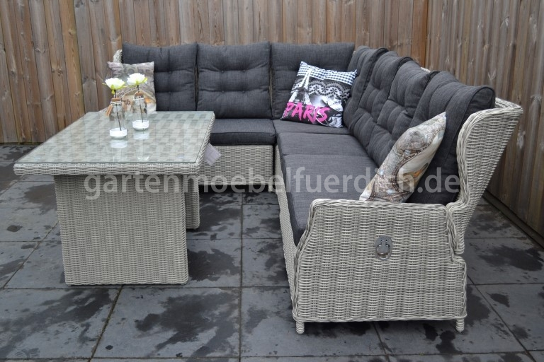 valencia verstellbare dining lounge set xl ecke mit esstisch hellgrau meliert garten m bel. Black Bedroom Furniture Sets. Home Design Ideas