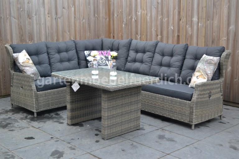 valencia verstellbares dining lounge set xl ecke mit esstisch sandgrau meliert ebay. Black Bedroom Furniture Sets. Home Design Ideas