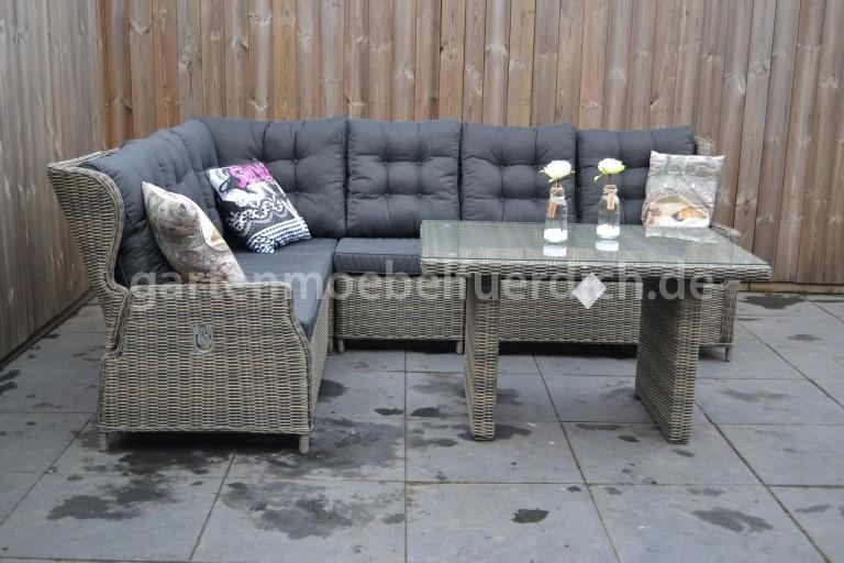 valencia verstellbares dining lounge set xl ecke mit esstisch sandgrau meliert garten m bel. Black Bedroom Furniture Sets. Home Design Ideas