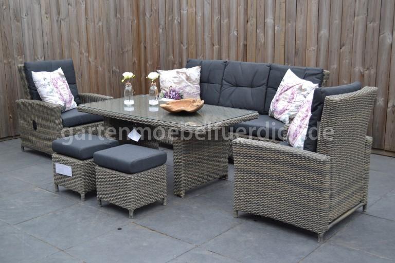 maryland verstellbares dining lounge set 3er mit esstisch und 2 hocker sand ebay. Black Bedroom Furniture Sets. Home Design Ideas