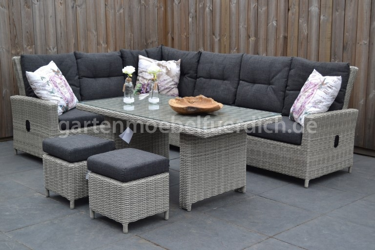 maryland verstellbares dining lounge set ecke mit esstisch und 2 hocker hel ebay. Black Bedroom Furniture Sets. Home Design Ideas