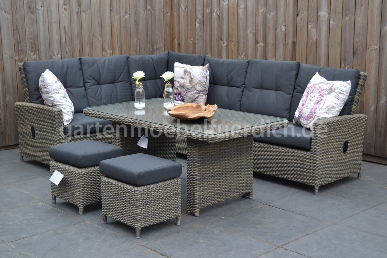 maryland verstellbares dining lounge set ecke mit esstisch und 2 hocker san ebay. Black Bedroom Furniture Sets. Home Design Ideas