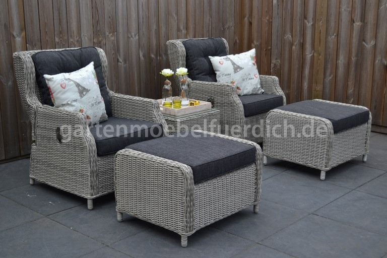 altea verstellbares lounge set mit beistelltisch und 2 hocker hellgrau meliert ebay. Black Bedroom Furniture Sets. Home Design Ideas