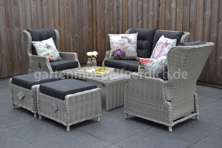 valencia verstellbares lounge set 2er mit lounge tisch und 2 hocker hellgrau meliert garten. Black Bedroom Furniture Sets. Home Design Ideas