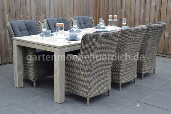 Merida Tisch Vintage Antique Grey mit 6 Rimini Diningstühlen Kobo Grey