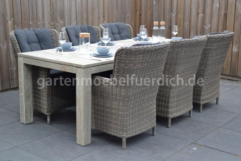 Merida Akazien Gartenholztisch 240 Grau Mit 6 Rimini Dining Sessel Sandgrau Meliert