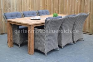 Bali Teak Tisch mit 6 San Jose Dining Stühlen