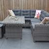 Frontera Loungeset Dark Grey mit hohem Tisch und Hockern 4