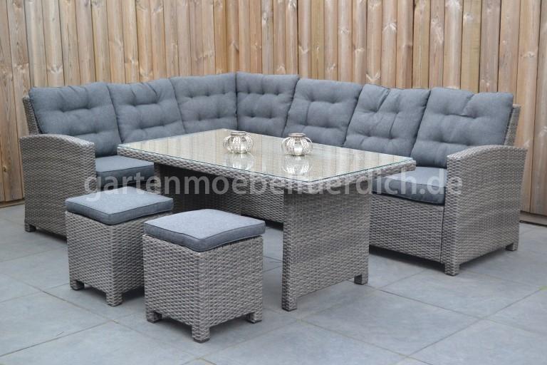 frontera dining lounge set ecke mit esstisch und 2 hocker dunkelgrau meliert garten m bel. Black Bedroom Furniture Sets. Home Design Ideas