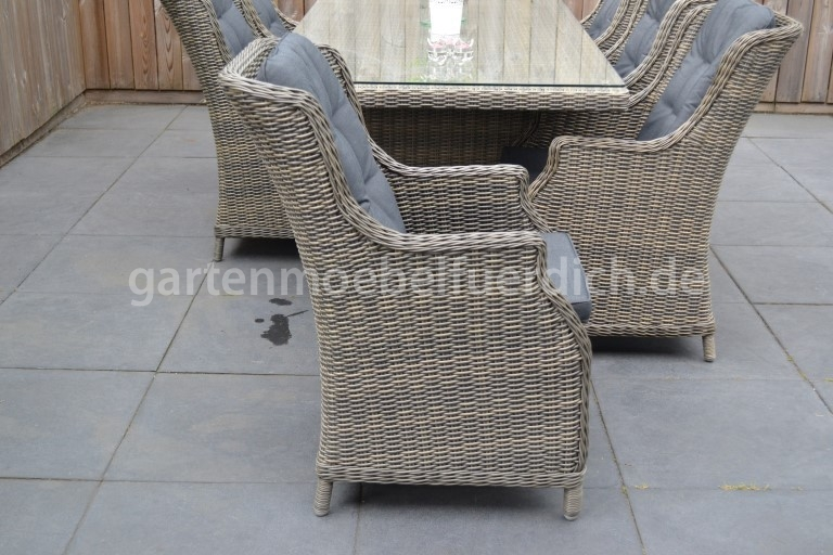 bologna polyrattan gartentisch 220 mit 6 perth dining sessel sandgrau meliert garten m bel. Black Bedroom Furniture Sets. Home Design Ideas
