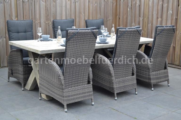 akazienholz tisch wales 220 mit 6 bologna verstellbare sessel. Black Bedroom Furniture Sets. Home Design Ideas