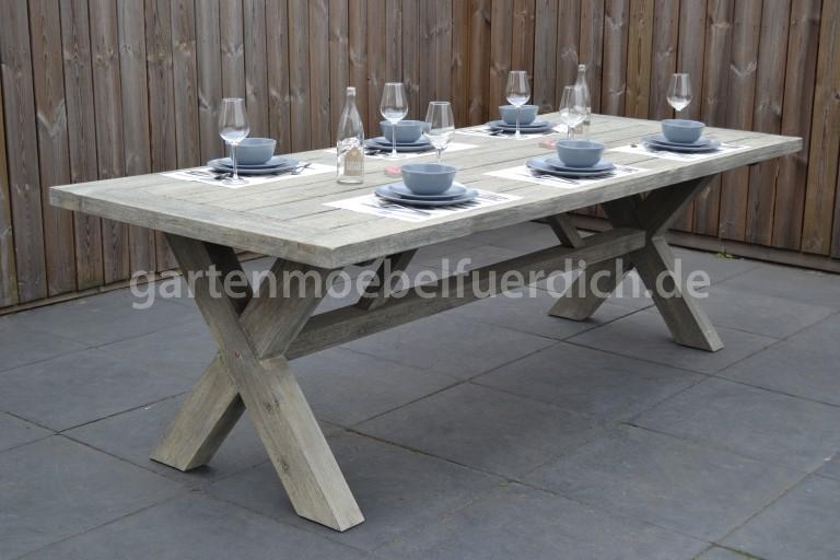 wales xl akazien gartenholztisch grau 300 x 100 cm garten m bel f r dich. Black Bedroom Furniture Sets. Home Design Ideas