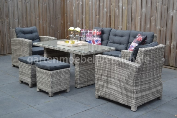 Dakota Loungeset Light Grey mit Esstisch und Hocker
