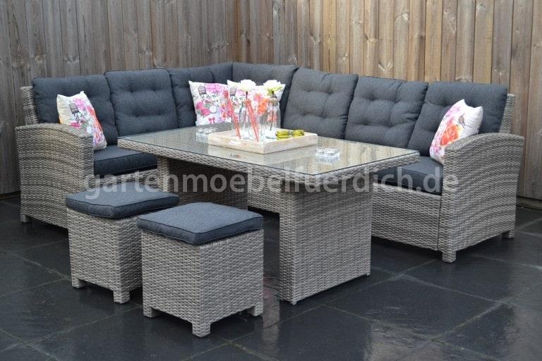 frontera dining lounge set ecke mit esstisch und 2 hocker hellgrau meliert ebay. Black Bedroom Furniture Sets. Home Design Ideas