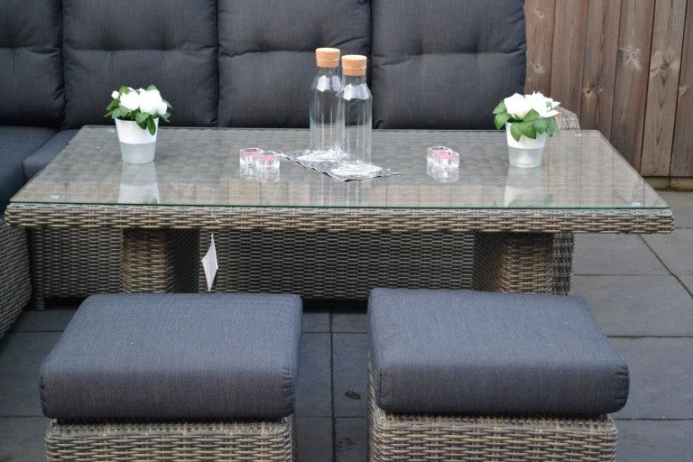 indiana verstellbare dining lounge set ecke mit esstisch und 2 hocker spiegelverkehrt sandgrau. Black Bedroom Furniture Sets. Home Design Ideas
