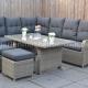Indiana verstellbare Lounge – Dining Ecke Kobo Grey mit Esstisch und Hocker