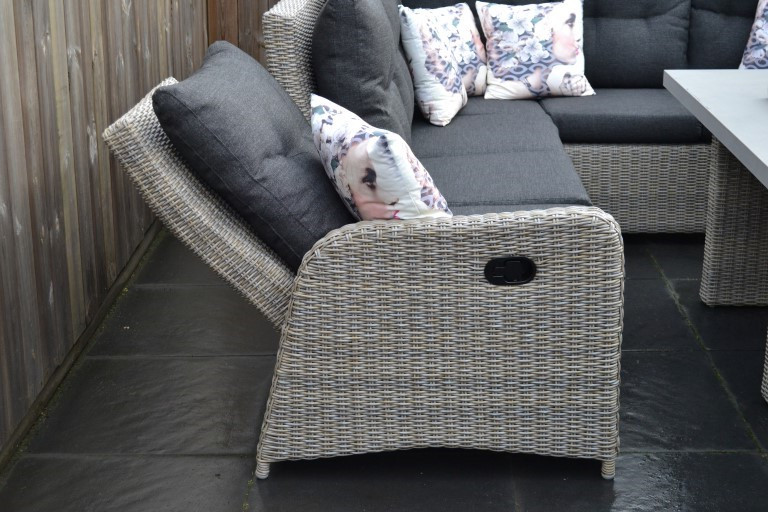 indiana verstellbare lounge dining ecke spiegelverkehrt mixed brown mit esstisch und hocker inkl. Black Bedroom Furniture Sets. Home Design Ideas