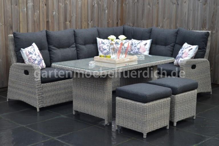 indiana verstellbares lounge dining set ecke mit esstisch und 2 hocker spiegelverkehrt. Black Bedroom Furniture Sets. Home Design Ideas