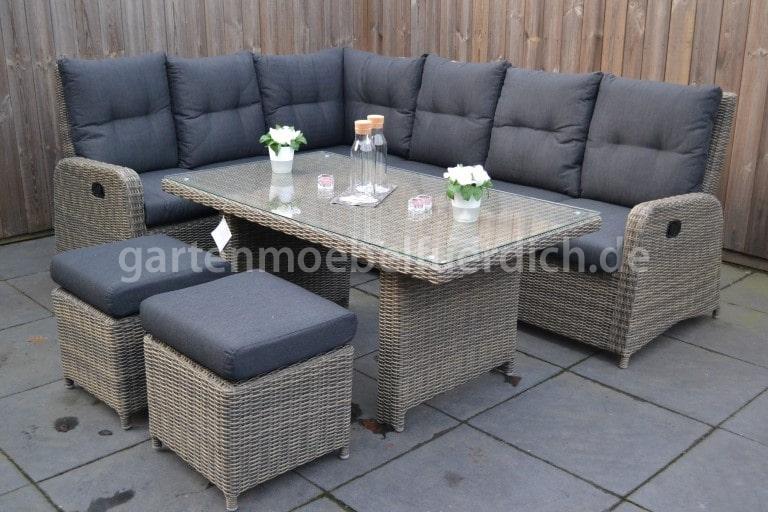 indiana verstellbares dining lounge set ecke mit esstisch 2 hocker und sessel sandgrau. Black Bedroom Furniture Sets. Home Design Ideas