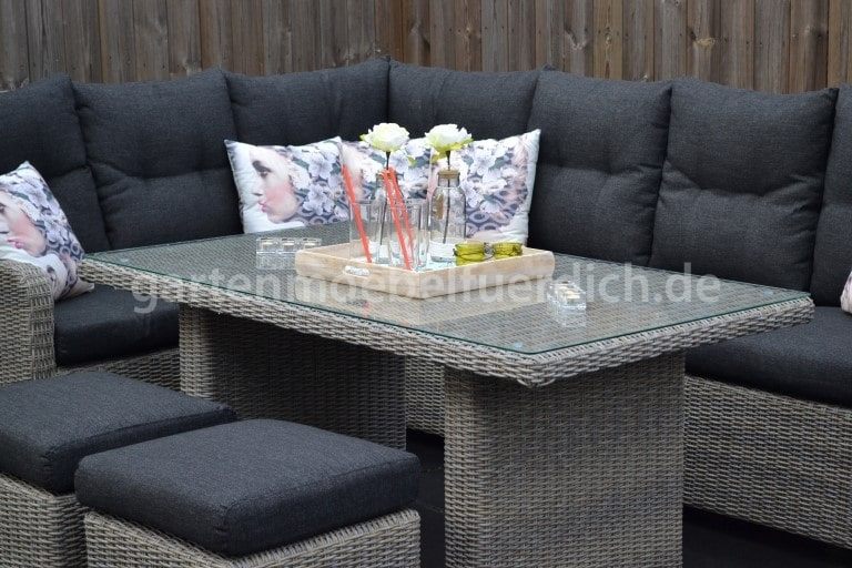 Indiana verstellbares lounge dining set ecke mit esstisch for Lounge set mit esstisch