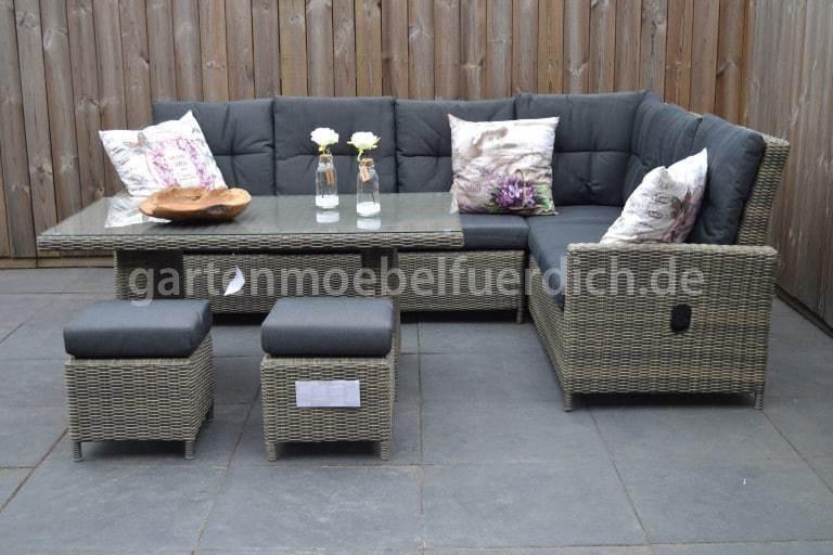 maryland verstellbares dining lounge set ecke mit esstisch und 2 hocker spi ebay. Black Bedroom Furniture Sets. Home Design Ideas