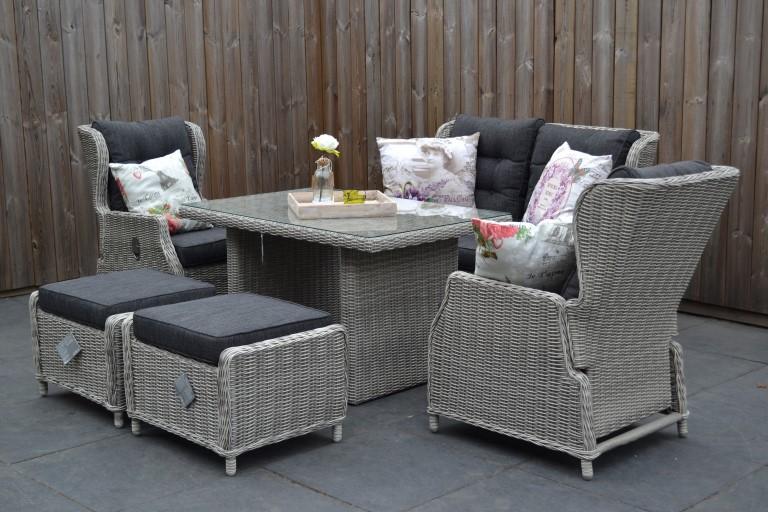 valencia verstellbares dining lounge set 2er mit esstisch und 2 hocker hellgrau meliert. Black Bedroom Furniture Sets. Home Design Ideas