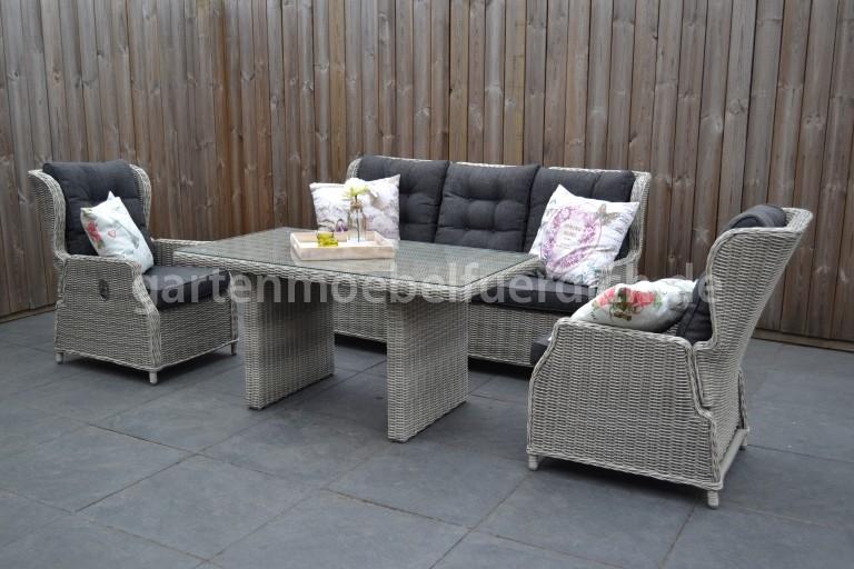 valencia verstellbares dining lounge set 3er mit esstisch hellgrau meliert garten m bel f r dich. Black Bedroom Furniture Sets. Home Design Ideas