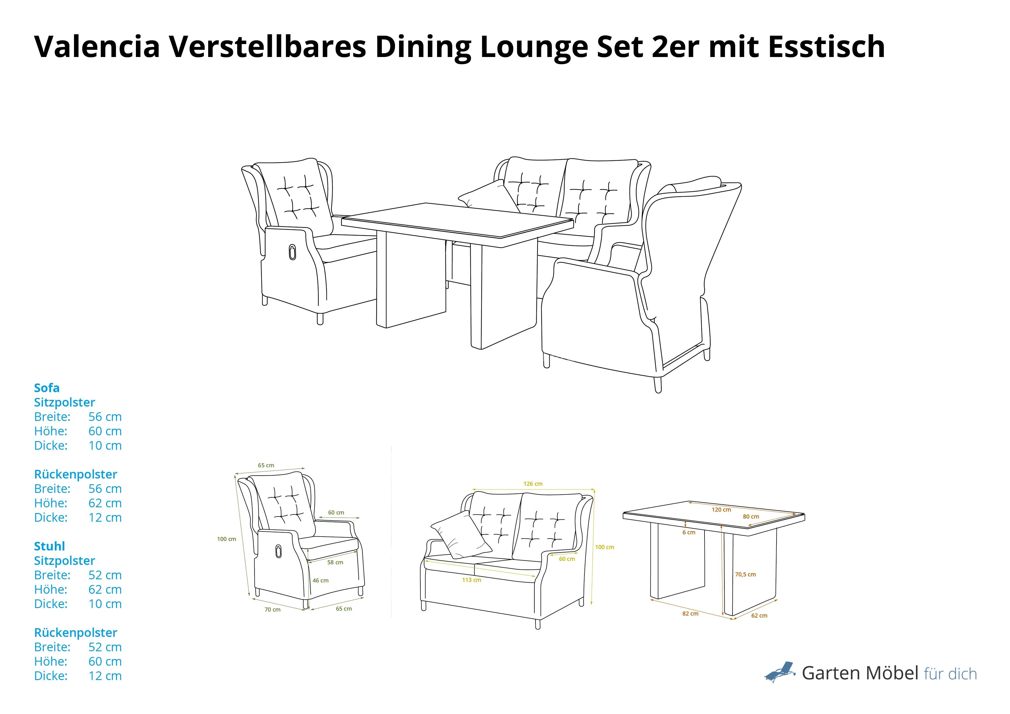 Valencia verstellbares dining lounge set 2er mit esstisch for Lounge set mit esstisch
