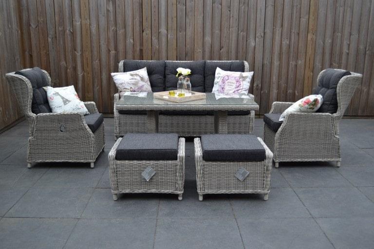 valencia verstellbare lounge 3 sitzer sofa light kobo grey mit esstisch und hocker 3 garten. Black Bedroom Furniture Sets. Home Design Ideas