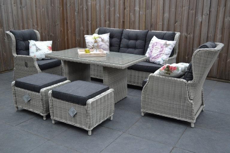valencia verstellbare lounge 3 sitzer sofa light kobo grey mit esstisch und hocker 4 garten. Black Bedroom Furniture Sets. Home Design Ideas
