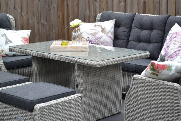 valencia verstellbare lounge 3 sitzer sofa light kobo grey mit esstisch und hocker 5 garten. Black Bedroom Furniture Sets. Home Design Ideas