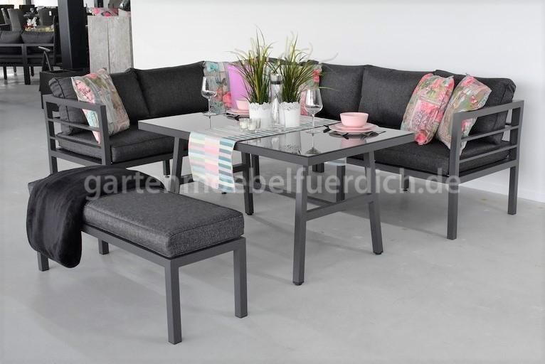 Toulouse Dunkelgrau Bank Tisch Und Aluminium Tisch Mit Matt Und